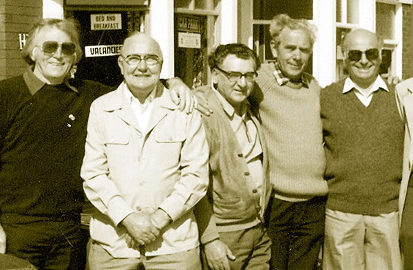 Blackpool reunion: l-r Harry Bradshaw, Bob Chapman, Curly Elms, Vic Herman and Reg Beck